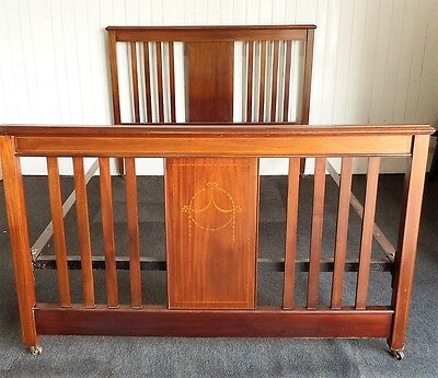 Antique Victorian inlaid mahogany double bed