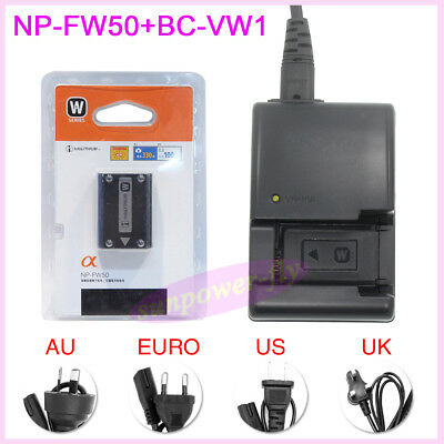 NP-FW50 battery + BC-VW1 Charger For Sony NEX3C NEX5 NEX-5 NEX-5C NEX-3 A55 A33