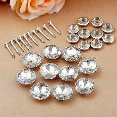 10pcs 20mm Crystal Upholstery Nails Tacks Shiny Pattern Sofa Screw Sew Buttons