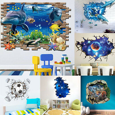 3D Removable DIY Window View Wall Home Decal Mural Decor Vinyl Art Room Stickers