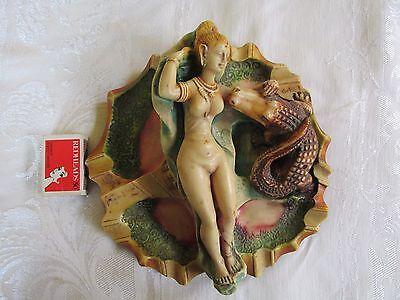 Very Unusual Ivorex dish Woman and Alligator Crocodile Asian ? Indian Chinese ?
