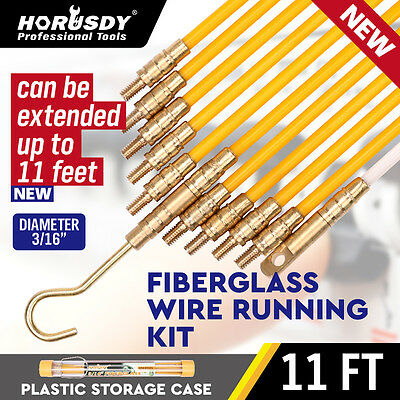 "3/16 "" x 11' Fiberglass Wire Cable Running Rods Fish Pulling Wire Holder Kit"