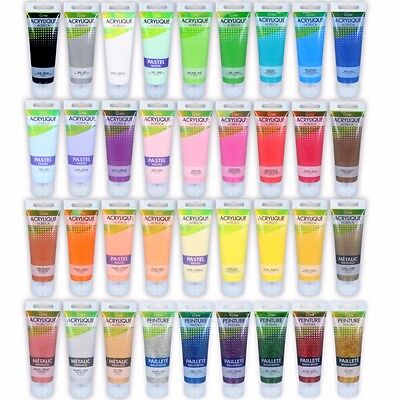ACRYLIC PAINT SETS Metallic/Pastel/Glitter Kits 75ml Tubes Art/Craft Canvas