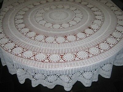 Vintage Crocheted Lace Tablecloth/cutter ~ Cotton ~ White ~ Round