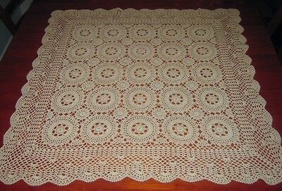 Vintage Crocheted Lace Tablecloth ~ Cotton ~ Beige ~ Square