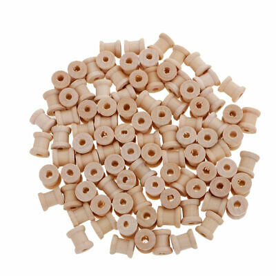 100Pc 14x12mm Wooden Empty Spools Bobbins for Wire Thread Sewing Craft Floss