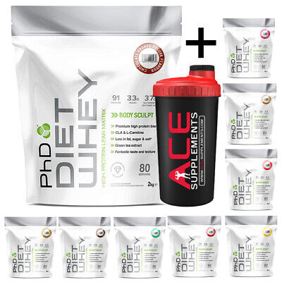 PhD Nutrition Diet Whey Protein 2kg Weight Loss Shake Low Carbs + Free Shaker
