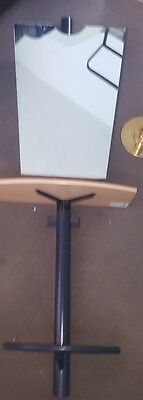Hair Salon mirror and stand with shelf and foot rest