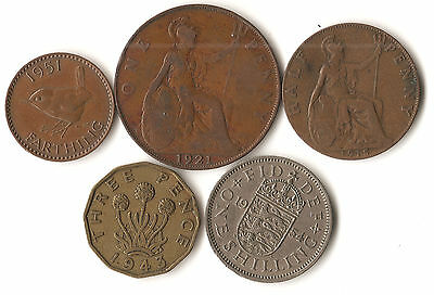 Lot of 5 Great Britain coins, farthing, 1/2, 1, and 3 pence, shilling, 1915 1954