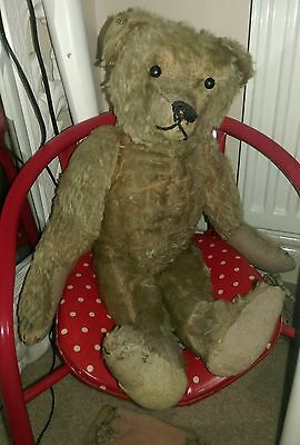 "Antique teddy bear German? early rare character jointed mohair  20"" & squeaker"