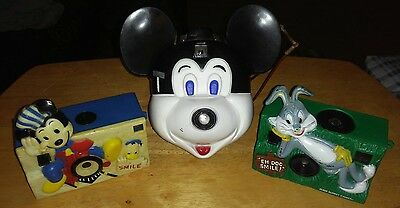 Vintage Collectible Camera Lot Mickey Mouse/bugs Bunny No Reserve