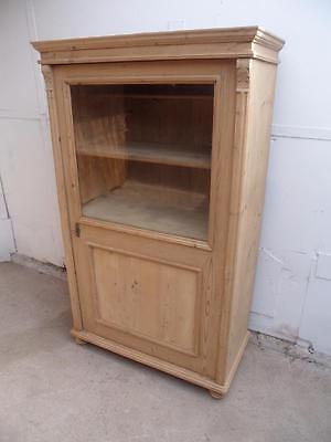 A Lovely Victorian Antique/Old Pine Glazed Display Cabinet to Wax/Paint