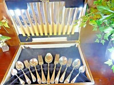"""VINERS 43 pc """"OLD ENGLISH"""" SILVER PLATE CANTEEN/SET of CUTLERY for 6"""