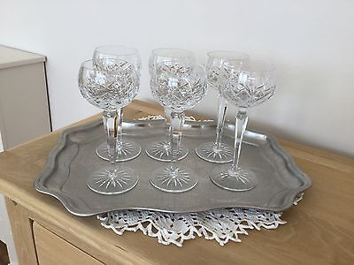 Lead Crystal Hock Glasses - set of six excellent condition