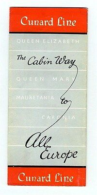 Cunard Lines The Cabin Class Way to All Europe Brochure Mauretania Queen Mary