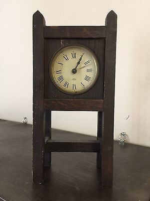 Arts Crafts Mission Tiger Sewn Oak Parker Mantle DeskClock Original Finish 1910