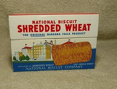 Vintage 1973 Tin Litho Shredded Wheat Recipe Box National Biscuit Co w/ Recipes