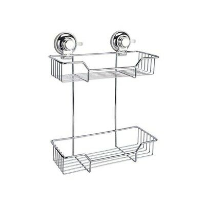 Super Suction Chrome 2-Tier Rectangular Bathroom Basket Caddy | Vertex