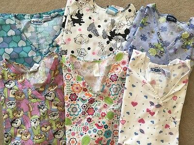 Women's Medical Scrub Tops V-neck Short Sleeve Lot of 6 Size XL-2XL Vet Dental