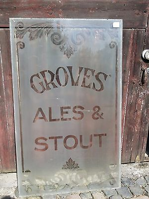 LATE VICTORIAN ETCHED GLASS - GROVES BREWERY WEYMOUTH DORSET  Window glass