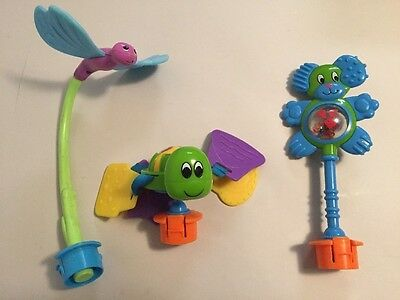 Lot of 3 Evenflo Exersaucer Animals Switch A Roo Toys Turtle Dragon Fly Dog VGUC