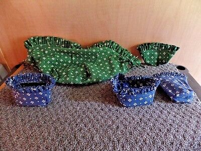 Lot of 5 Longaberger Liners Green/White & Blue/White (LG91)
