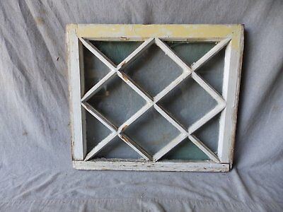 Antique Diamond Tudor Window Sash Shabby Cottage Cabin Chic Vtg 21x24 264-17P