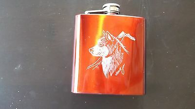 Alaskan Malamute-  Gorgeous Hand Engraved Stainless Flask  by Ingrid Jonsson