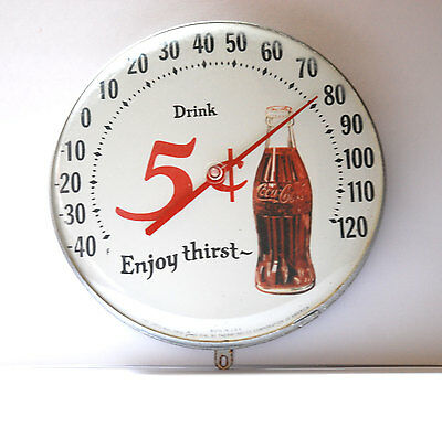 Vintage Drink Coca-Cola ~ Enjoy Thirst 5¢ ~ Ohio Jumbo Dial Thermometer Metal
