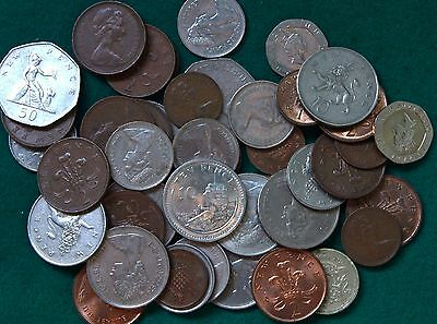 Bulk Lot Decimal British Coins, 8 Denominations, Half Penny to Pound