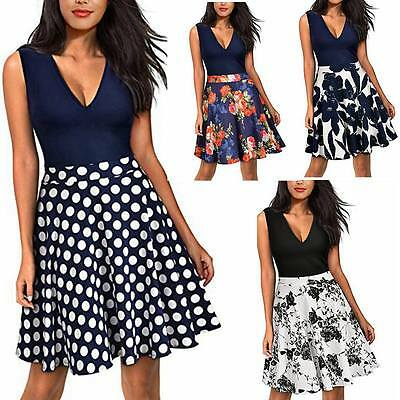 UK Women's Vintage Flare Floral Contrast Sleeveless Casual Cocktail Party Dress