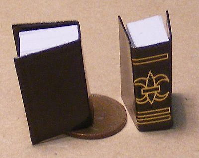 1:12 Scale Two Thick Black Books Stationery For A Dolls House Book Library Study