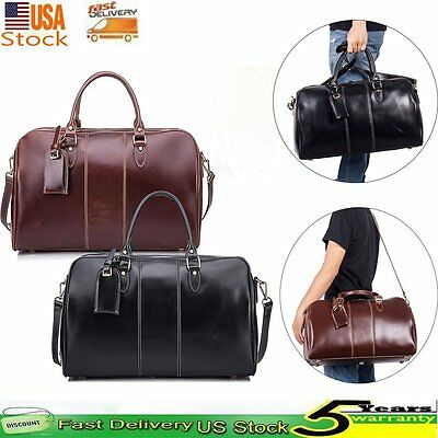Men's Genuine Leather Sports Weekend Deluxe Duffel Bag Travel Boarding Luggage