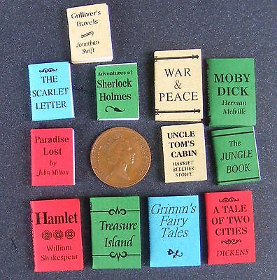 1:12 Scale Set Of 12 Books Stationery For A Dolls House Reading Library Study
