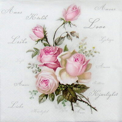 20x Cocktail Paper Napkins Serviettes Tableware Party Decoupage - Love Rose