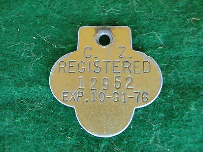 Dog License, 1975 From  The Canal Zone, Tag, Tax, Metal, Aluminum