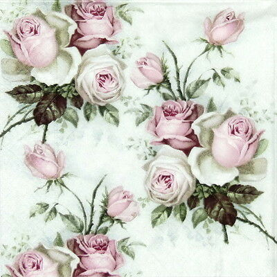 20x Cocktail Paper Napkins Serviettes Tableware Party Decoupage -Small Roses