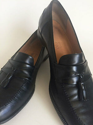 Salvatore Ferragamo Mens Shoes 11D Black Leather Loafers + Tassels, Italy