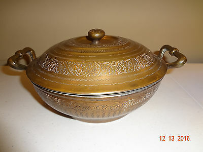 Vintage Etched Ornate Brass Bowl with Lid