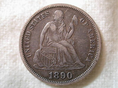 1890-S U.S. Liberty Seated Dime Extremely Fine