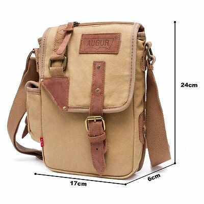 Men's Military Canvas Leather Satchel Travel Shoulder Crossbody Messenger Bag US