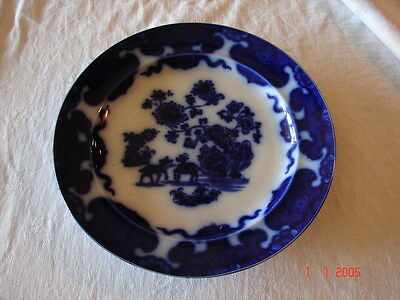 """Flow Blue Cashmere 10 3/8"""" Plate By F.M. K. Co. Patent"""