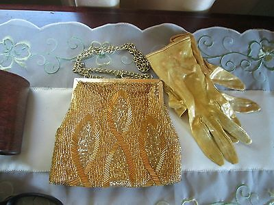 Vintage La Regale Hand Made Beaded Evening Purse with Gloves