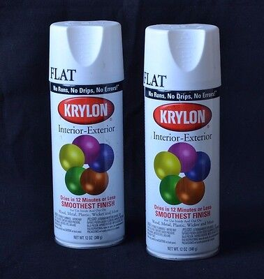 NO RESERVE!!! Vintage 2 Krylon Spray Paint Cans 1502 Flat White NEW from 1991