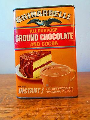 Vintage GHIRARDELLI GROUND CHOCOLATE AND COCOA Instant Tin 16 oz Can. FULL