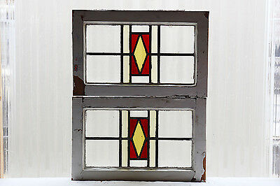 Pair of Antique Stained Glass Windows Three Color Craftsman Style Design (3027)