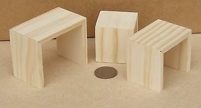1:12 Scale Natural Wooden Modern Nest Of 3 Tables Tumdee Dolls House Furniture