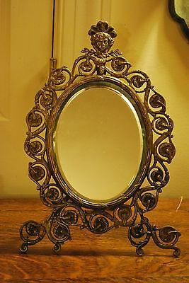 Great Antique Victorian Bronze Mirror with Figural Woman Oval Beveled Glass RARE