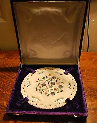 Unique Chinese Rock Stone Hand Carved Inlayed Plate Floral Design In Velvet Box