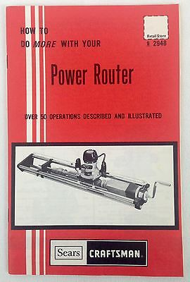 SEARS CRAFTSMAN How To Do More With Your Power Router Operations Manual Handbook